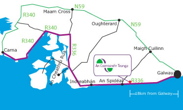 The office is located between Galway and An Spidéal, 2km east of An Spidéal.